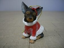 Black & Brown Chihuahua Dog Puppy With Red Santa Coat & Bow XMas Ornament  NWT