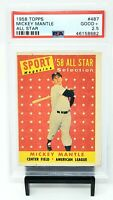 1958 Topps All Star HOF Yankee MICKEY MANTLE Vintage Baseball Card PSA 2.5 GOOD+