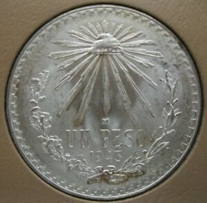 1943 Mexico Silver Peso~Brilliant Uncirculated~Very Nice Coin & Luster