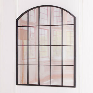 Large Black Antique style Arch Shabby Chic Window Mirror   FREE Delivery H:91cm