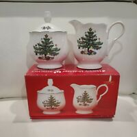 NIKKO Happy Holidays Sugar Bowl with Lid and Creamer Set! Never Used!