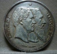 Léopold I Léopold 2  SILVER COIN Belgium 5 Francs X# 8 1880 -low mintage 6,714