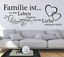 X184 Wandtattoo Spruch  Familie wo das Leben beginnt und die Liebe Wandaufkleber