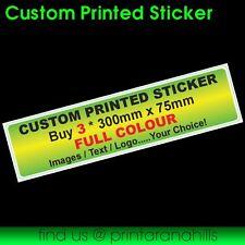Custom Printed Bumper Sticker Decal x 3 300x75mm  - CP00021