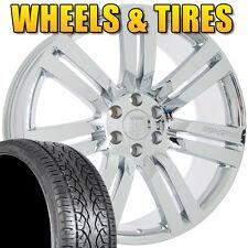 "Set of 24"" Cadillac Escalade Chrome Rims Wheels and Tires Chevy Silverado Tahoe"
