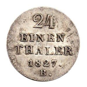 KM# 141 - 1/24 Thaler - Hannover - German States - 1827 B (VF)