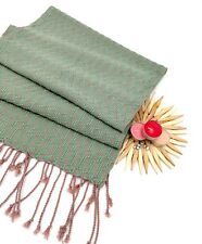 High Quality Women HAND WOVEN Cotton Thai Silk Long Green Scarf Shawl Wrap Stole