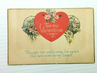 Vintage Postcard 1910's To My Valentine Paths May Lie Apart Ever In My Heart