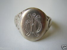 "Antiker Siegelring Ring Monogramm ""HS"" 835 Silber 5,5 g /RG 19,1 mm"