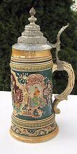 MUSEAL! gr. Krug Bierkrug Schützenkrug Steinzeug m. Zinndeckel dat. 1905!