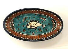 Beautiful Colorful Old City Jerusalem Signed Ceramic Fish Trinket Dish Tray