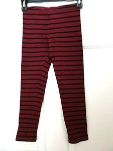 Old Navy Girl's Size 10/12 Wine/Black Striped Leggings-EUC