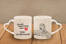 "Irish Wolfhound - ceramic cup, mug ""Good morning and love, heart"", Usa"