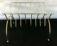 Vintage Mid Century Modern MCM Metal Magazine Rack Stand with Ball Foot