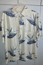 Bamboo Cay  Mens Large  Oversize Bird of Paradise Print on White/Nice
