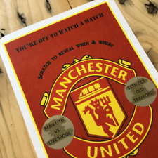 Personalised Scratch Reveal Man United Trip Card Xmas Gift Birthday Man U
