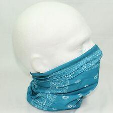 Tube Snood Scarf Blue White Paisley Biker Mask for under Helmet Ski Face Neck