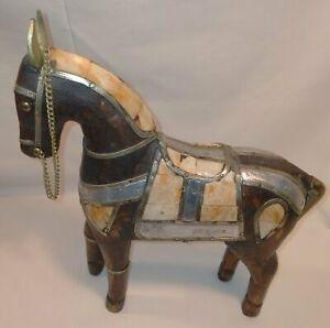 Metal Ornate Green Patina Horse Figurine Ornament Ancient Greek Symbol Bronze