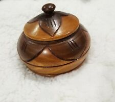 Vintage Round Hand Carved 2 Tone Brown Wooden Trinket Box with Lid