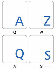 French Azerty blue transparent letters