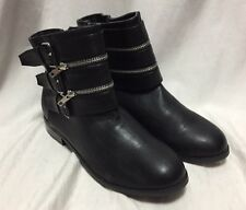 Torrid Fashion Ankle Boots Black Womens 11 Heels Belted Buckles