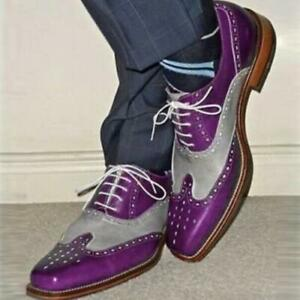 British Mens Classic Lace Up Formal Brogue Carved Oxford Two Tone Dress Shoes SZ