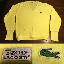 Vtg IZOD Lacoste Mens Cardigan Sweater 60s Made In USA Yellow Sz. M