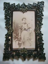 Antique English Ornate Metal Picture Frame  - Grapevine & Flowers