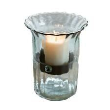 Ribbed Clear Glass 11 in Candle Hurricane Rustic Pillar Holder Display Vase