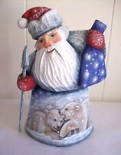 """Polar Bears-Northern Lights Santa"" - Carved Wood Santa Figure - Made in Russia"