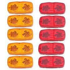 """10pc 4"""" x 2"""" Rectangular Bull-Eye Side Marker Clerance Light Red / Amber 12Diode"""