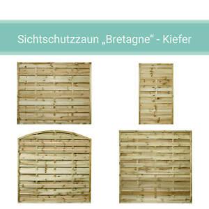 Sichtschutzzaun Holz Zaun Dichtzaun Gartenzaun Bretagne Halbelement Kiefer KDI