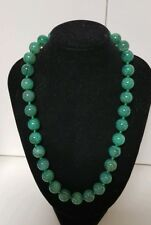 12mm beads 406ct Emerald Jade Green Dragon Vein Agate Beaded Necklace 78 Grams