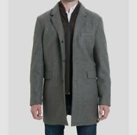 $640 Michael Kors Men Gray Stretch Wool Blend Ghent Overcoat Peacoat Jacket M