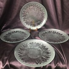 "Set of 4 Vintage Pasari International Clear Glass Sunflower 10"" Dinner Plates"