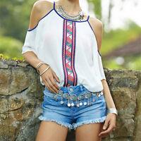 New Fashion Womens Chiffon Tops Tank Short Sleeve T-Shirt Casual Blouse VestGNUS