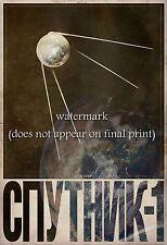 Soviet Space Poster Canvas Print 8x10 (20x25cm) + 1'' (2.5cm) Border SPUTNIK-1