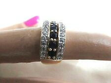 14K GOLD RING W/BLUE SAPPHIRES AND ZIRCON STONES MARKED 14K BJ SZ-5