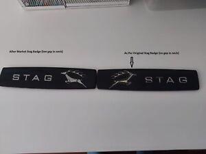 Triumph STAG ** Rear WING BADGE Black MK2 ** PAIR ** BRAND NEW  **AS ORIGINAL**