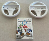 Mario Kart Nintendo Wii Bundle 2 Wheels and Game Cleaned Tested Working Original