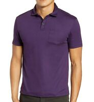 John Varvatos Star USA Men's Short Sleeve Burlington Interlock Polo Purple M