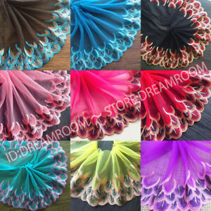 BF82 Floral Tulle Lace Trim Ribbon Embroidery Feather Wedding Fabric Sewing DIY