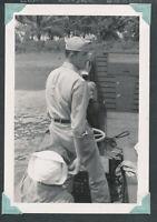 1945 WWII USS Sylvania Captain Bryce on ship's landing craft LUZON PI Photo