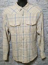 Cabela's Mens Plaid 100% Cotton Long Sleeve Pearl Snap Button Western Shirt Sz L
