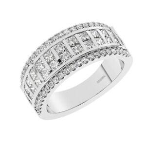 1.40 Cts Round Brilliant & Princess Cut Diamonds Half Eternity Ring 950 Platinum