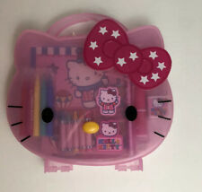 Rare New Hello Kitty Pink Plastic Case With Supplies Case Sanrio Pencils Paper