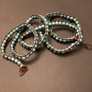 Chan Luu Five Wrap Faceted Turquoise and Leather cord Bracelet Adjustable