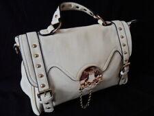 New Cream LEATHER Look / Stud Buckle Detail Satchel / Shoulder Bag / Handbag