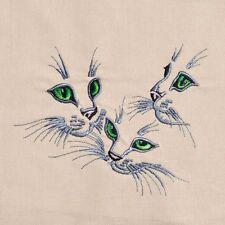 Embroidered Quilt Block Panel KITTEN CAT  100% Cotton Biscuit Fabric Makower