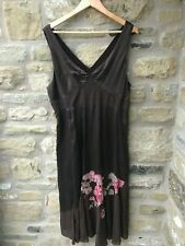 Ladies COAST Silk Midi Dress Size 16 Brown Floral Strappy Evening Occasion